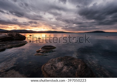 Cloudy sunset in Chernomorets, near Burgas, Bulgaria. - stock photo