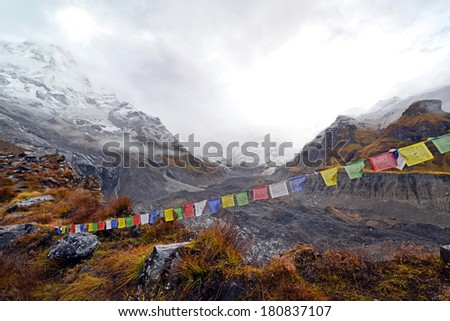 Cloudy weather and storm in the Annapurna Base Camp. Himalaya mountains, Nepal - stock photo