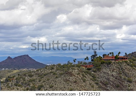 Cloudy Winter Day in Greater Phoenix North Mountain Park, Arizona - stock photo