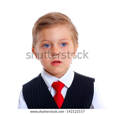 Clouse-up portrait of upset schoolboy. Isolated on a white background - stock photo