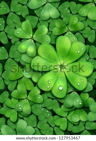 Clover background for St. Patrick`s day. For luck. - stock photo