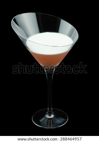 Clover Club is a classic cocktail that contains gin, raspberry syrup, lemon juice and a few drops of egg white. Isolated on black. - stock photo