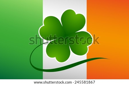 Clover leaf on flag element background for happy St. Patricks Day - stock photo