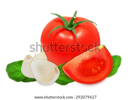 Cloves of garlic, basil leaves and red ripe tomato isolated on a white background. Italian cuisine ingredients. Design element for product label. - stock photo