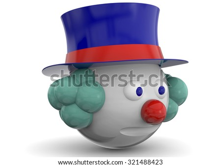 Clown Character on white background - stock photo
