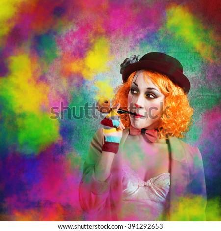 Clown colored smoke - stock photo