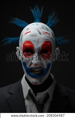 Clown crazy zombies red blue in a jacket - stock photo