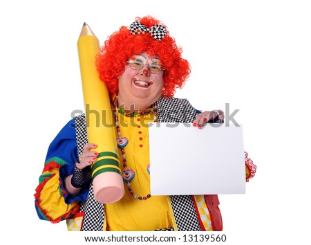 Clown holding blank paper and large pencil - stock photo