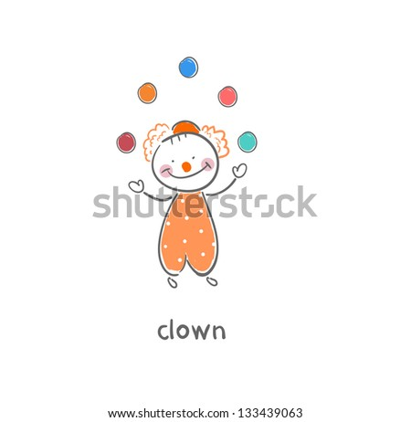 Clown. Illustration. - stock photo