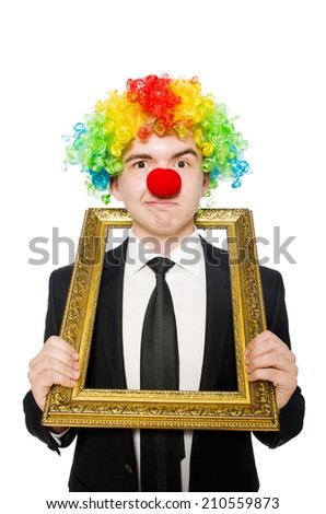 Clown isolated on the white background - stock photo