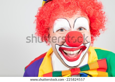 clown portrait on white background - stock photo