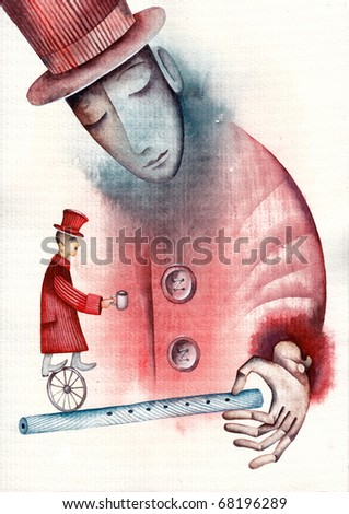 Clown with a Flute - stock photo