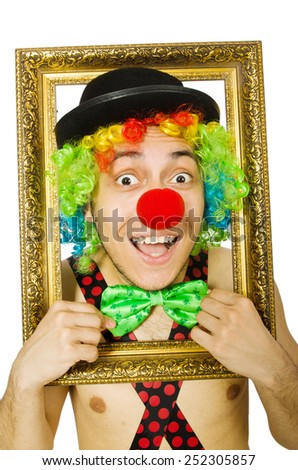 Clown with picture frame isolated on white - stock photo
