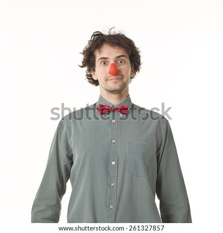 Clown With Red Nose. - stock photo