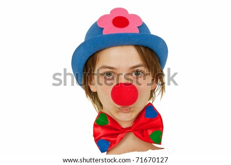 Clown with red nose looking out of white paper - stock photo