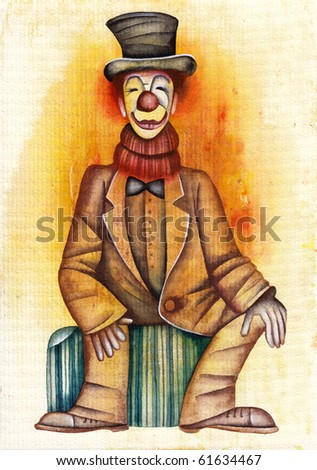 Clown with white hair sitting on a suitcase - stock photo