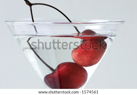 club cocktail(focus on the cherry) - stock photo