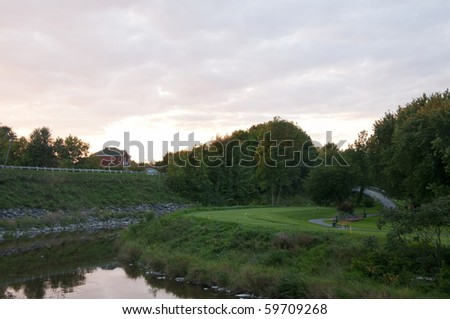 Club house at the local golf course - stock photo