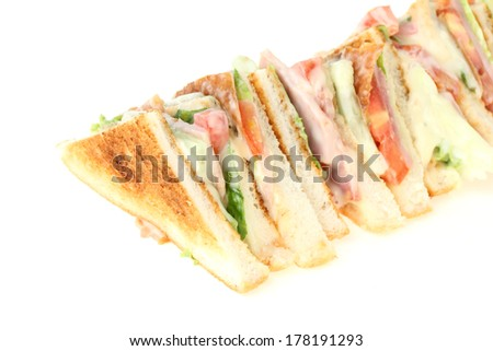 club sandwich on white background - stock photo