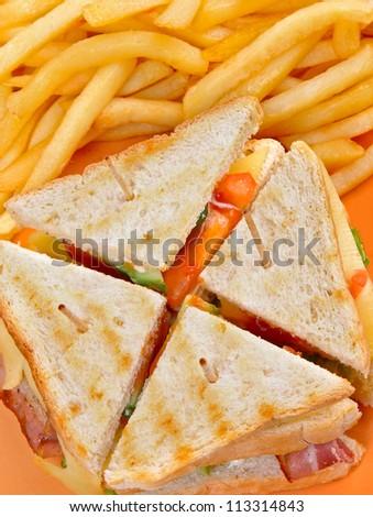 club sandwich with fries - stock photo