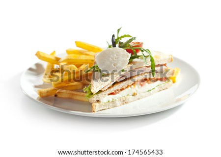 Club Sandwich with Mozzarella, Tomato and Smoked Meat - stock photo