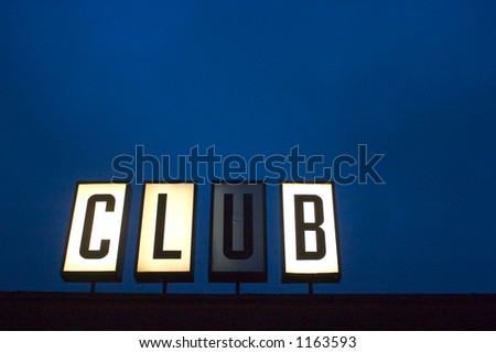 Club sign and deep blue background with plenty of room for text or add your own letters in place of club - stock photo