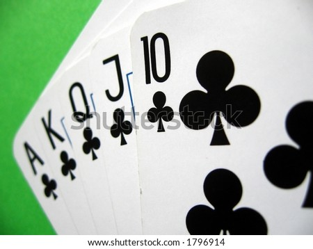 clubs royal poker;  winning poker hand... - stock photo