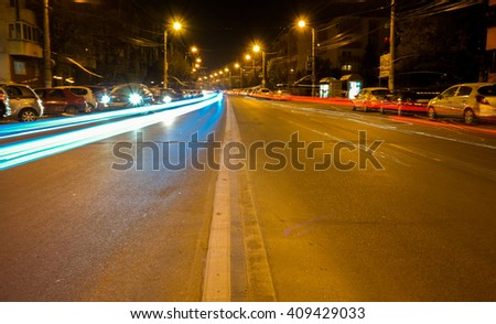 Cluj-Napoca at night. Long Exposure - stock photo