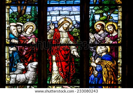 CLUJ NAPOCA, ROMANIA - AUGUST 21, 2014: Jesus Christ Talking To The Apostles Stained Glass Window Inside The Gothic Roman Catholic Church of Saint Michael Built In 1390. - stock photo