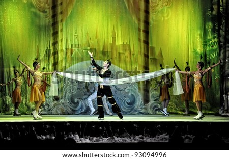 "CLUJ NAPOCA, ROMANIA – JANUARY 18: The russian Sankt Petersburg State Ballet on Ice performs ""The Nut Cracker"" in the National Theater of Cluj Napoca, on January 18, 2012 in Cluj-Napoca, Romania - stock photo"