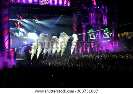 CLUJ NAPOCA, ROMANIA - JULY 30, 2015: Dj ATB (Andre Tanneberger) performs a live concert at the Untold Festival in the European Youth Capital city of Cluj Napoca - stock photo