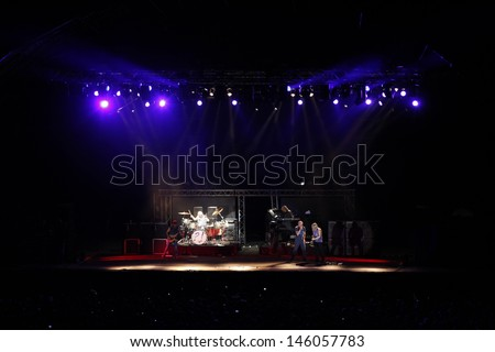 CLUJ NAPOCA, ROMANIA - JUNE 7: The famous rock band Deep Purple performs on stage during the Cluj Arena Music Fest 2013, on June 7, 2013 in Cluj Napoca, Romania.  - stock photo