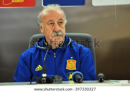 CLUJ-NAPOCA, ROMANIA - MARCH 26, 2016: The coach of Spanish National team, Vicente del Bosque speaks during a press conference before the Romania-Spain friendly match - stock photo