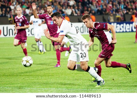 CLUJ-NAPOCA, ROMANIA - OCTOBER 2: van Persie in UEFA Champions League match between CFR 1907 Cluj and Manchester United, Dr. C. Radulescu Stadium, Cluj-napoca, on 2 Oct., 2012 in Cluj-Napoca, Romania - stock photo
