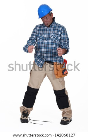 Clumsy builder - stock photo