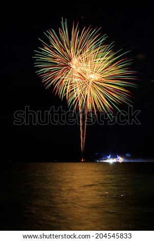 Cluster of colorful fireworks - stock photo