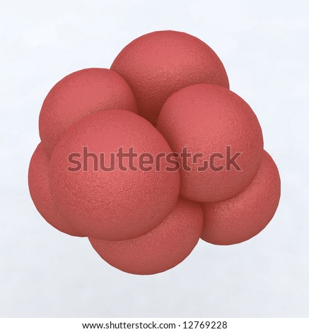 Cluster of 8 pink stem cells - stock photo