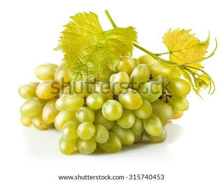 Cluster white grapes with leaf. Isolated on white background - stock photo