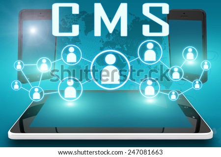 CMS - Content Management System - text illustration with social icons and tablet computer and mobile cellphones on cyan digital world map background - stock photo