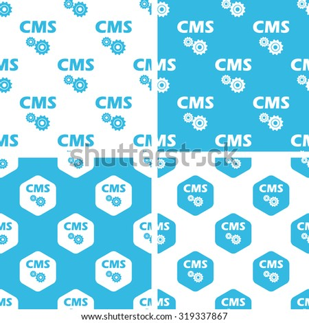 CMS settings patterns set, simple and hexagon, blue and white - stock photo