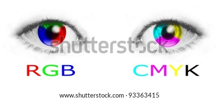 Cmyk and rgb color wheels in human eyes - bitmap illustration - stock photo