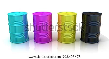 CMYK barrels isolated on white background. Concept of inkjet printing and desk book publishing - stock photo