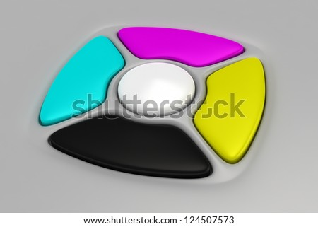 CMYK buttons of remote control on the gray background - stock photo