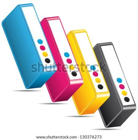 CMYK CMJN offset cartridges. Ink toners arranged diagonally. - stock photo