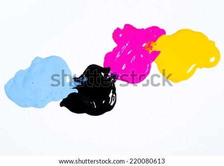 cmyk color background on white - stock photo