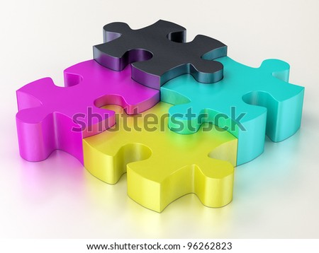 cmyk color jigsaw puzzle pieces on white reflect background - stock photo