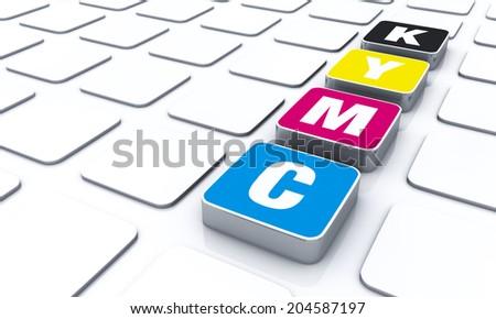 cmyk color letters symbol 1 - stock photo