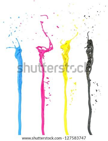 cmyk color splash isolated on white - stock photo