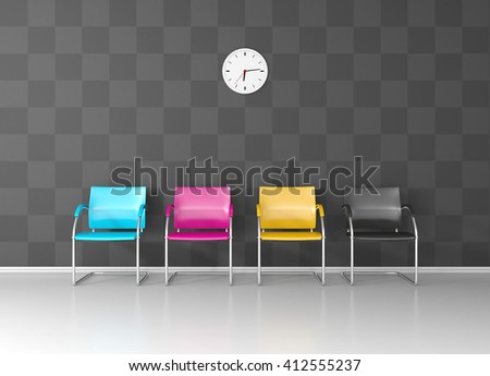 CMYK colored chairs in the print shop waiting room - stock photo