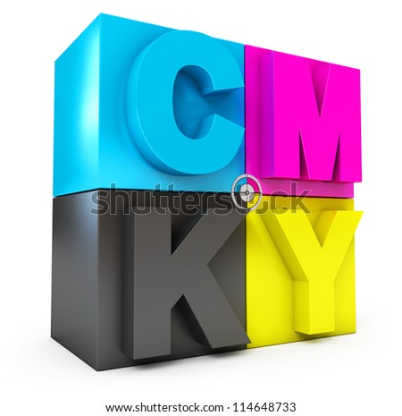 CMYK cubes. Isolated on white background. 3d render - stock photo
